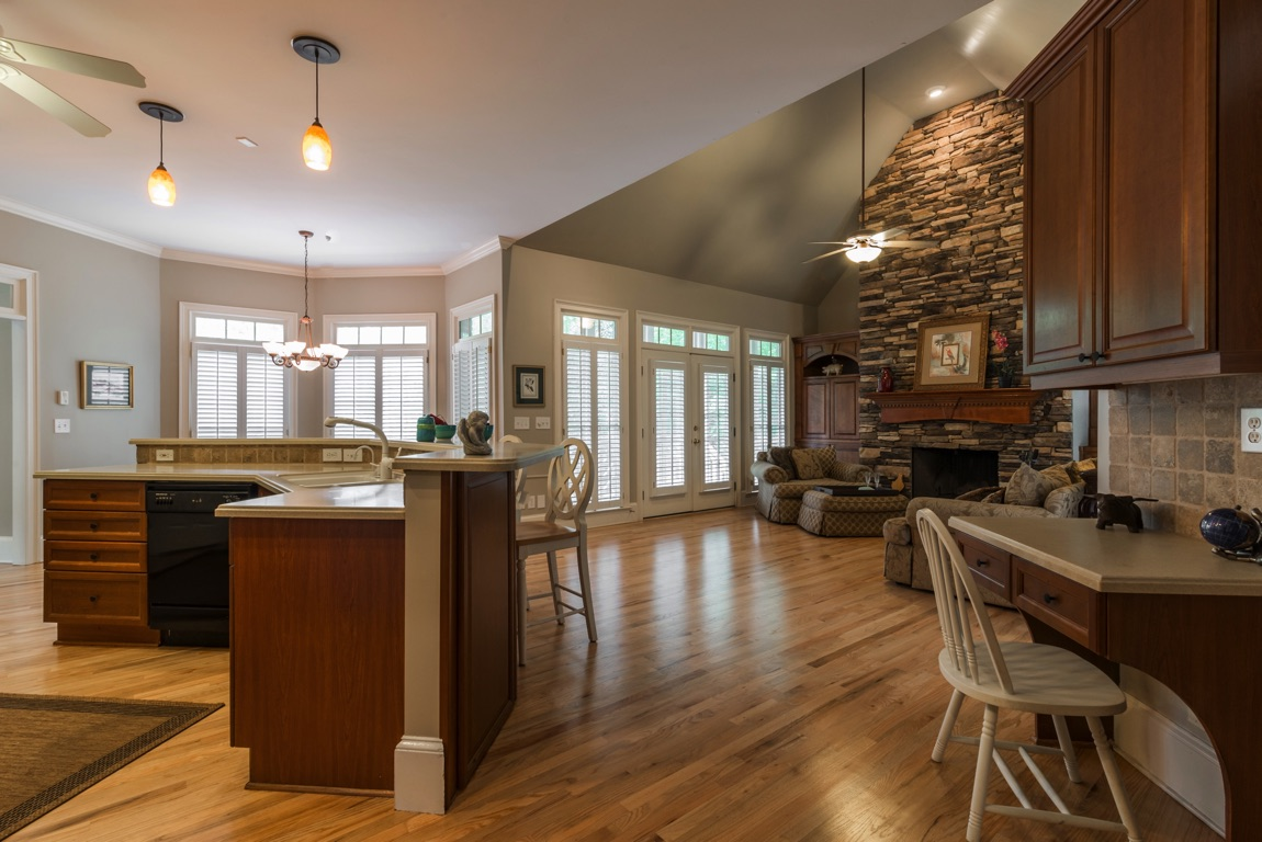 The Keeping Room Right Off Kitchen And With It S Own Deck Overlooking Woods Features A Wood Burning Fireplace Stone Chimney Is Close